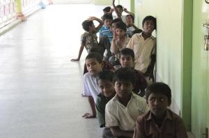 Children sitting in line