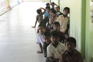 Children sitting in line